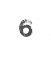 Wax cijfer 6 zilver