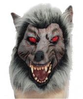 Weerwolf dierenmasker met rode ogen