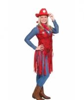 Western cowboy vestje rood voor dames