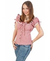 Wild west cowboy blouse dames met ploftmouwtjes rood wit