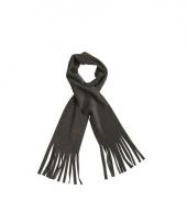 Winter fleece sjaal met franjes antraciet