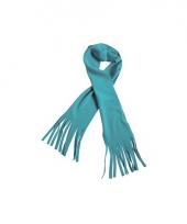 Winter fleece sjaal met franjes aqua blauw