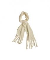 Winter fleece sjaal met franjes off white