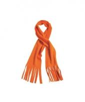 Winter fleece sjaal met franjes oranje