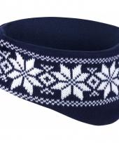 Winter gebreide haarband navy