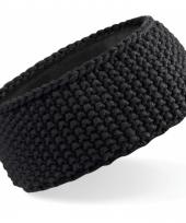 Winter gebreide haarband zwart 10076881