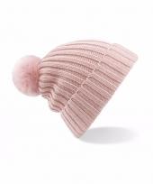 Winter muts met pompon voor volwassenen lichtroze