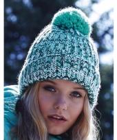 Winter muts met pompon voor volwassenen turquoise