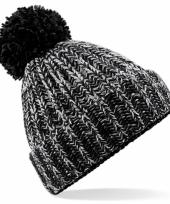Winter muts met pompon voor volwassenen zwart 10077008