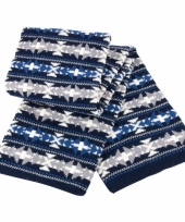 Winter sjaal met blauw witte print
