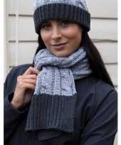 Winterset muts en sjaal grijs voor dames