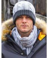 Winterset muts en sjaal grijs voor heren
