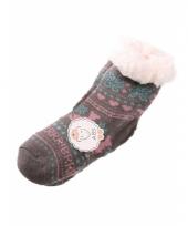 Wintersokken grijs roze voor kinderen