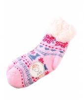 Wintersokken roze blauw voor kinderen