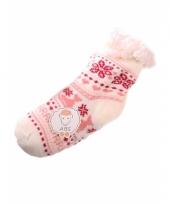 Wintersokken wit roze voor kinderen