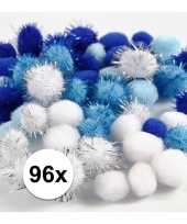 Wit blauwe decoratieve pompons 15 20 mm 10107815