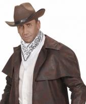 Wit cowboy sjaaltje wilde westen thema 55 x 55 cm