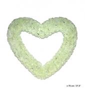 Wit deco hart met witte rozen 70cm