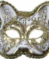 Wit gouden venetiaans wit gouden katten poezen masker