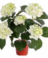 Wit groene kunst hortensia plant 36 cm