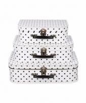 Wit koffertje met zwarte stippen 25 cm 10090170