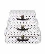 Wit koffertje met zwarte stippen 30 cm