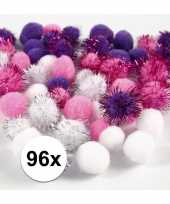 Wit paarse decoratieve pompons 15 20 mm 10107813