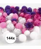 Wit paarse decoratieve pompons 15 20 mm 10107814