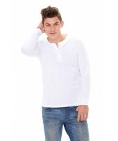 Wit-shirt voor heren met knoopjes wit