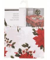 Wit tafelkleed met kerststerren 130 cm