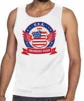 Wit usa drinking team tanktop mouwloos shirt heren