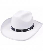 Witte cowboy hoed met studs versiering