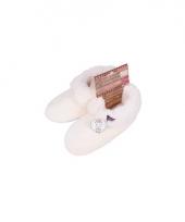 Witte dames pantoffels met bontvoering