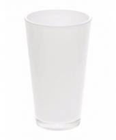 Witte glazen boeketvaas wijd conisch 22 cm