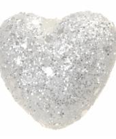Witte glitter deco hartjes 2 5 cm