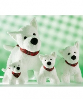 Witte hondjes knuffel met zakdoek 21 cm
