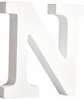 Witte houten letter n