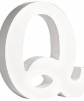 Witte houten letter q