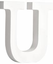 Witte houten letter u