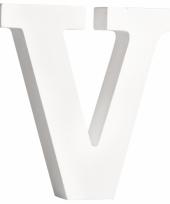 Witte houten letter v