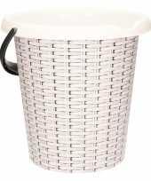 Witte huishoudemmer met rotan print 12 liter