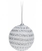 Witte kerstballen met diamantjes 5 5 cm