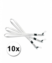 Witte key cords sleutel hangers 10 st