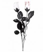 Witte kunstroos met bloed 45 cm