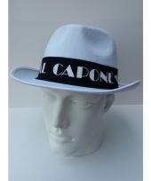 Witte maffia hoed met zwarte band