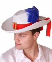 Witte musketier hoed met band en veer