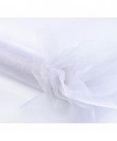 Witte organza stof met glitters 36 cm