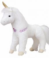 Witte paarden knuffel met gouden hoorn 30 cm