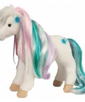 Witte paarden knuffel met kam 30 cm 10088845