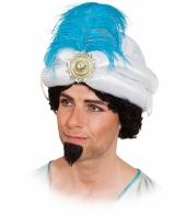 Witte sultan hoed met veer